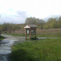 Union Bay Natural Area kiosk on Wahkiakum Lane near Merrill Hall