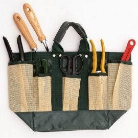 A bag with many pruning tools in it