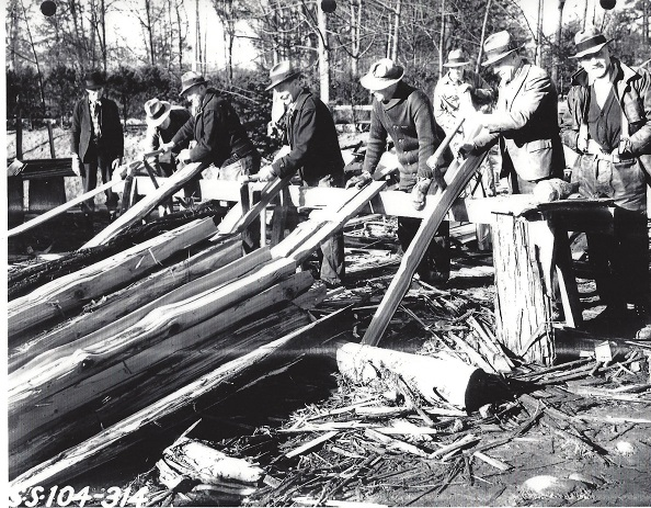1937, splitting cedar fence uprights
