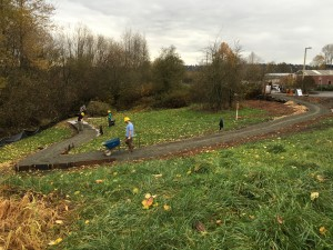 Trail work on new ADA-accessible entry path to Yesler Swamp. Photo courtesy of Friends of Yesler Swamp
