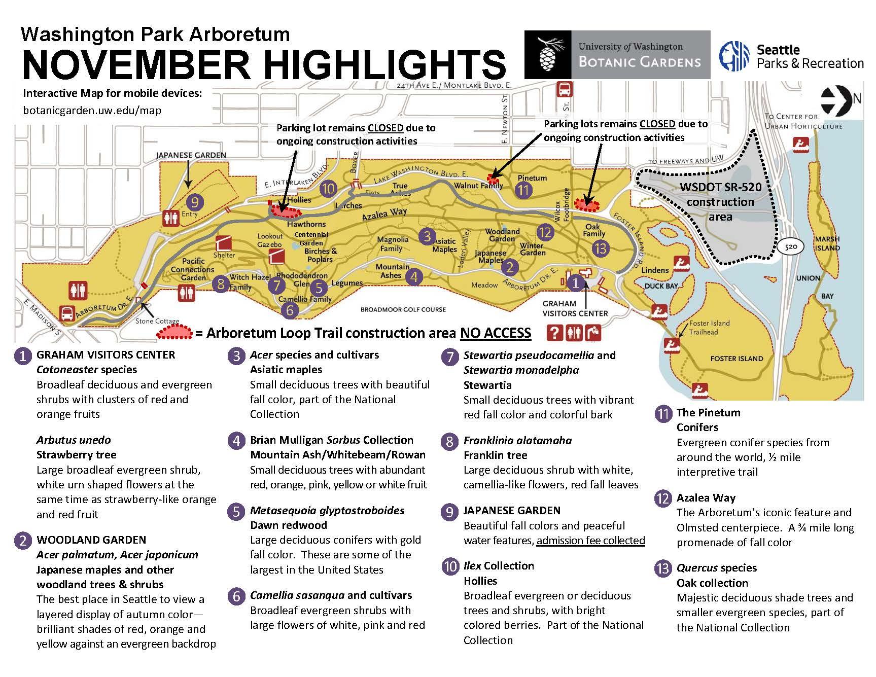 washington park arboretum loop trail open to public nov 10