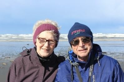 Lyn and Hans Sauter, hiking