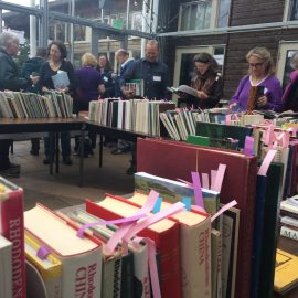 book sale shoppers