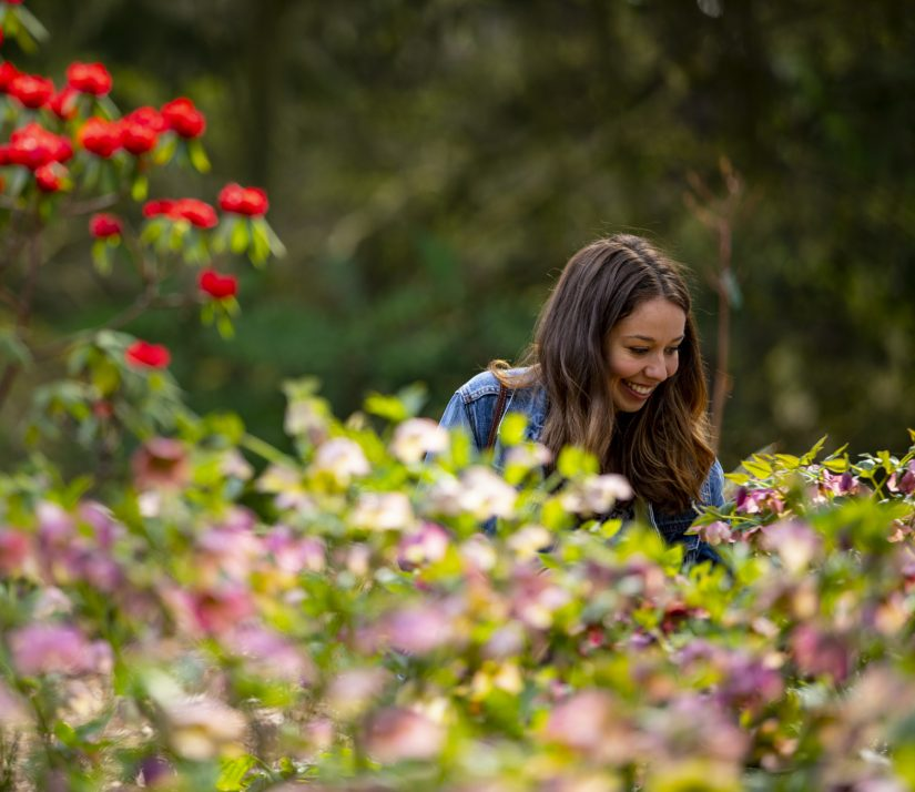 smiling woman surounded by flowers