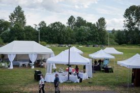 Large grassy lawn filled with vendor tents